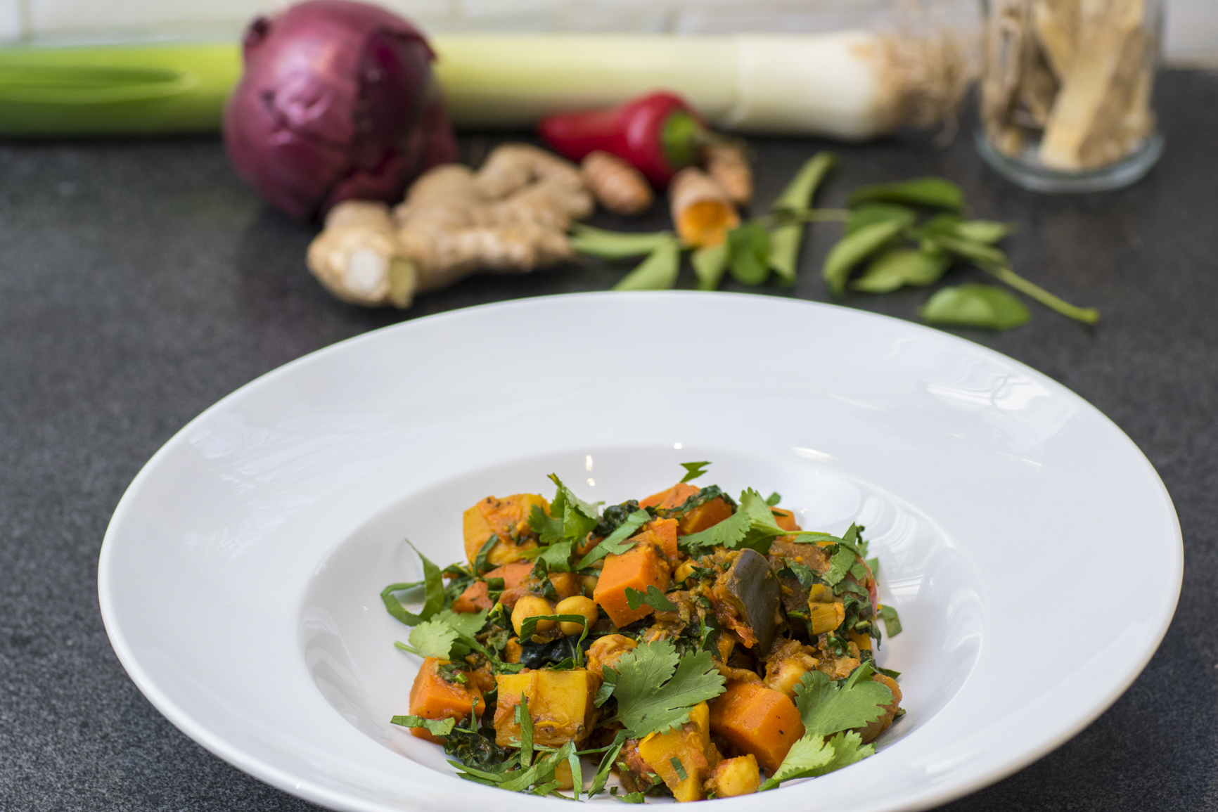 Chickpea, Kale and Vegetable Curry