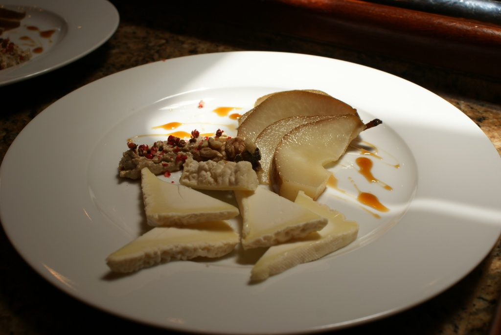 Camembert Cheese, Poached pear and Walnut Salsa