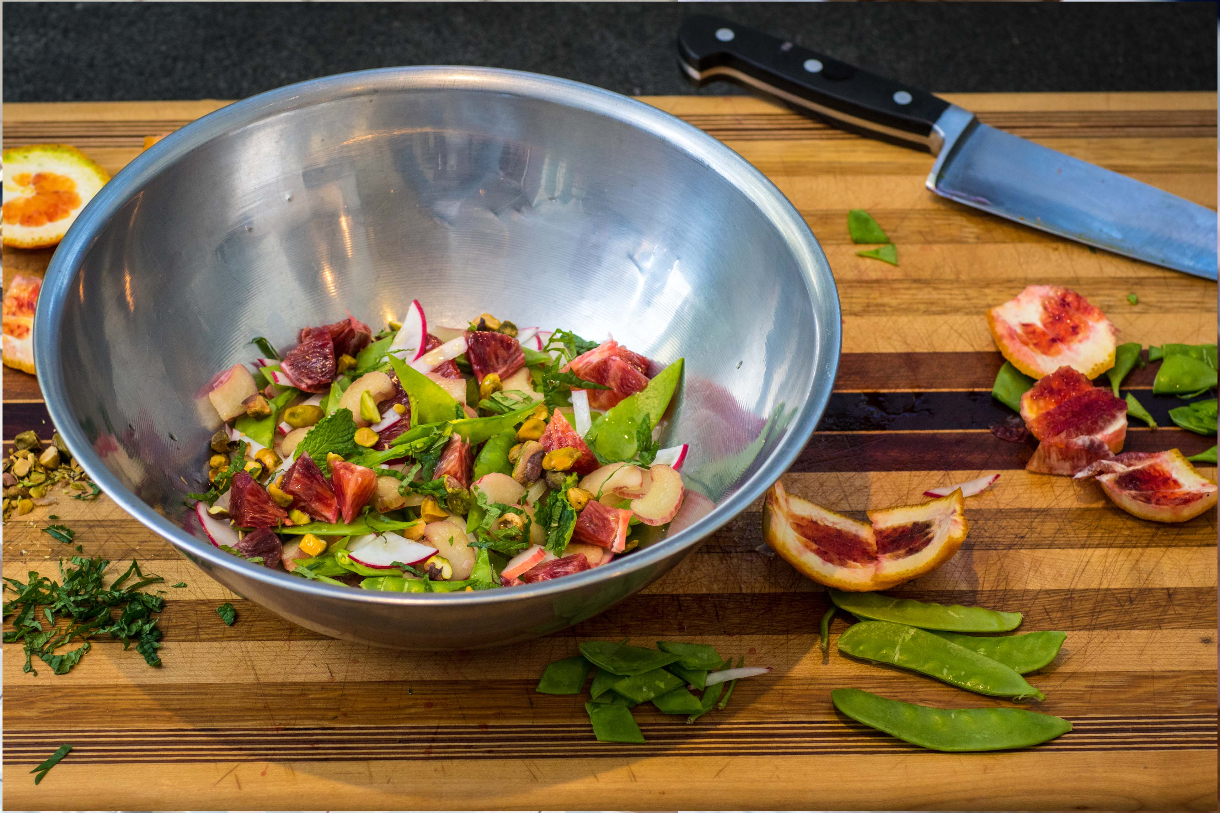 Rhurbarb Radish Pea Salad with Orange, Mint and Pistachio